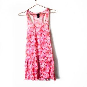 EUC H&M Pink Printed Sheer Swimsuit Coverup XS